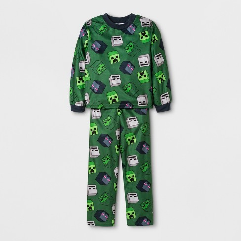 Boys  Minecraft Door Buster 2pc Pajama Set - Green   Target f4e70a0ab