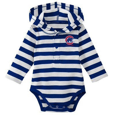Chicago Cubs Boys' Striped Long Sleeve Hooded Bodysuit - 0-3M