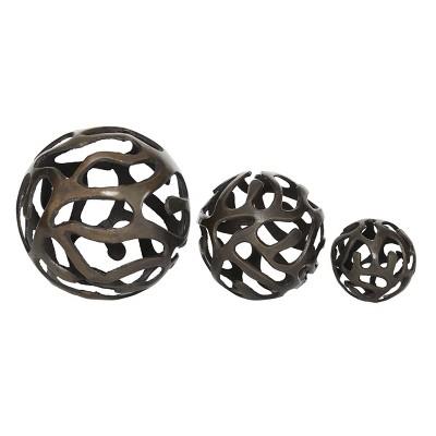 Set of 3 Decorative Aluminum Balls Brass - Olivia & May