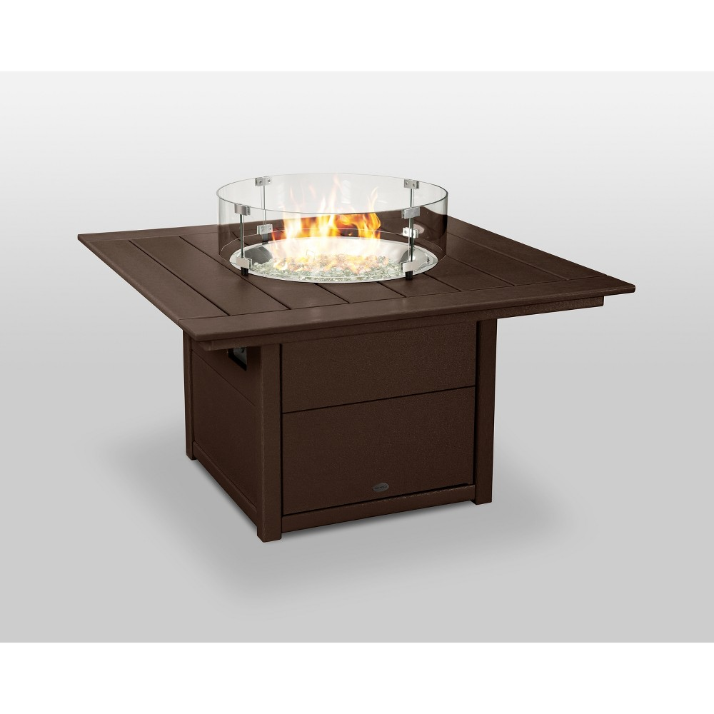 "Image of ""POLYWOOD 42"""" Fire Pit Table - Square - Mahogany, Brown"""