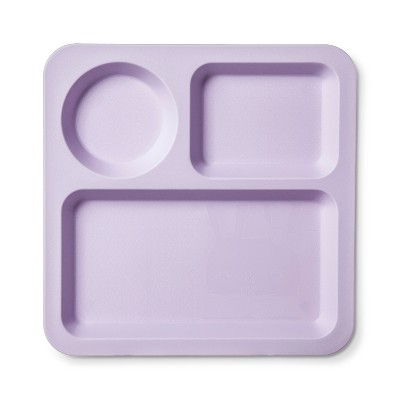 Square Plastic Divided Kids Plate 9.5  Violet - Pillowfort™