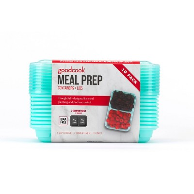 GoodCook Meal Prep 2 Compartment Small Rectangle Green Containers + Lids - 10ct