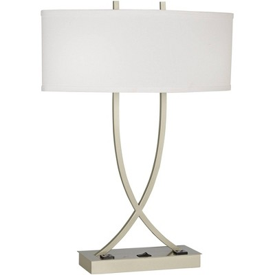 360 Lighting Contemporary Table Lamp with Outlets Brushed Silver Brussels White Linen Shade for Living Room Bedroom Bedside Home