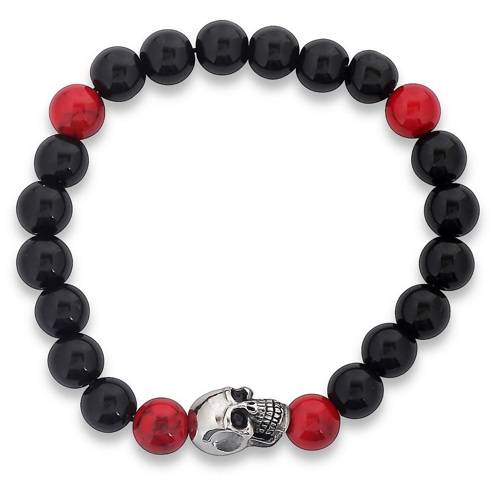 Men's West Coast Jewelry Stainless Steel Skull and Stretch Beaded Bracelet, Onyx