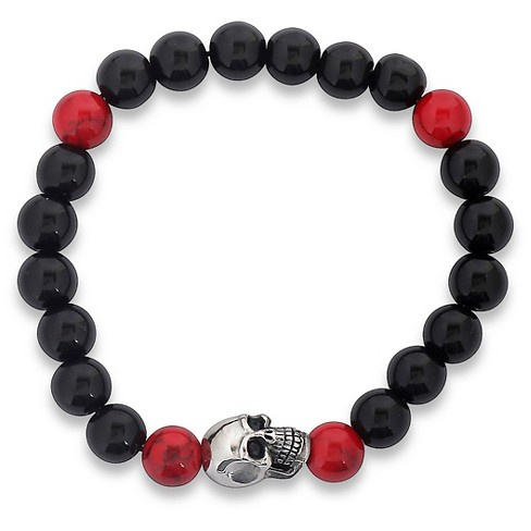Men's West Coast Jewelry Stainless Steel Skull and Stretch Beaded Bracelet - image 1 of 3