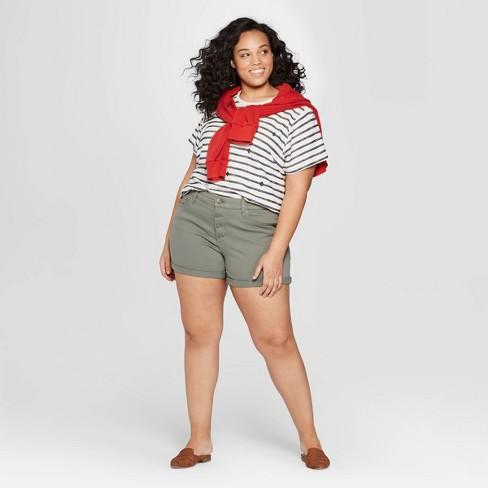 9af7ec68f1 Women's Plus Size Mid-Rise Jean Shorts - Universal Thread™ Olive. Shop all Universal  Thread