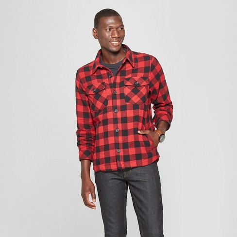 03109c86 Men's Long Sleeve Buffalo Check Plaid Shirt Jacket - Goodfellow & Co™ Ripe  Red : Target