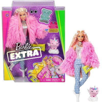 Barbie Extra Doll #3 in Pink Fluffy Coat with Pet Unicorn-Pig