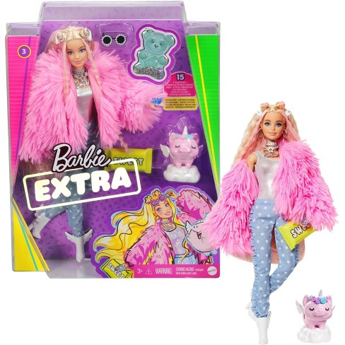 Barbie Extra Doll #3 in Pink Fluffy Coat with Pet Unicorn-Pig - image 1 of 4