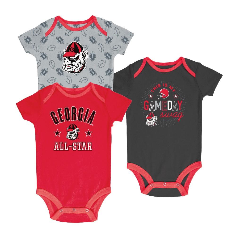 Georgia Bulldogs Baby Boy Short Sleeve 3pk Bodysuit - 3-6M, Multicolored