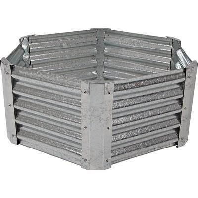 "40"" Hexagon Raised Garden Bed - Galvanized Steel - Sunnydaze Decor"