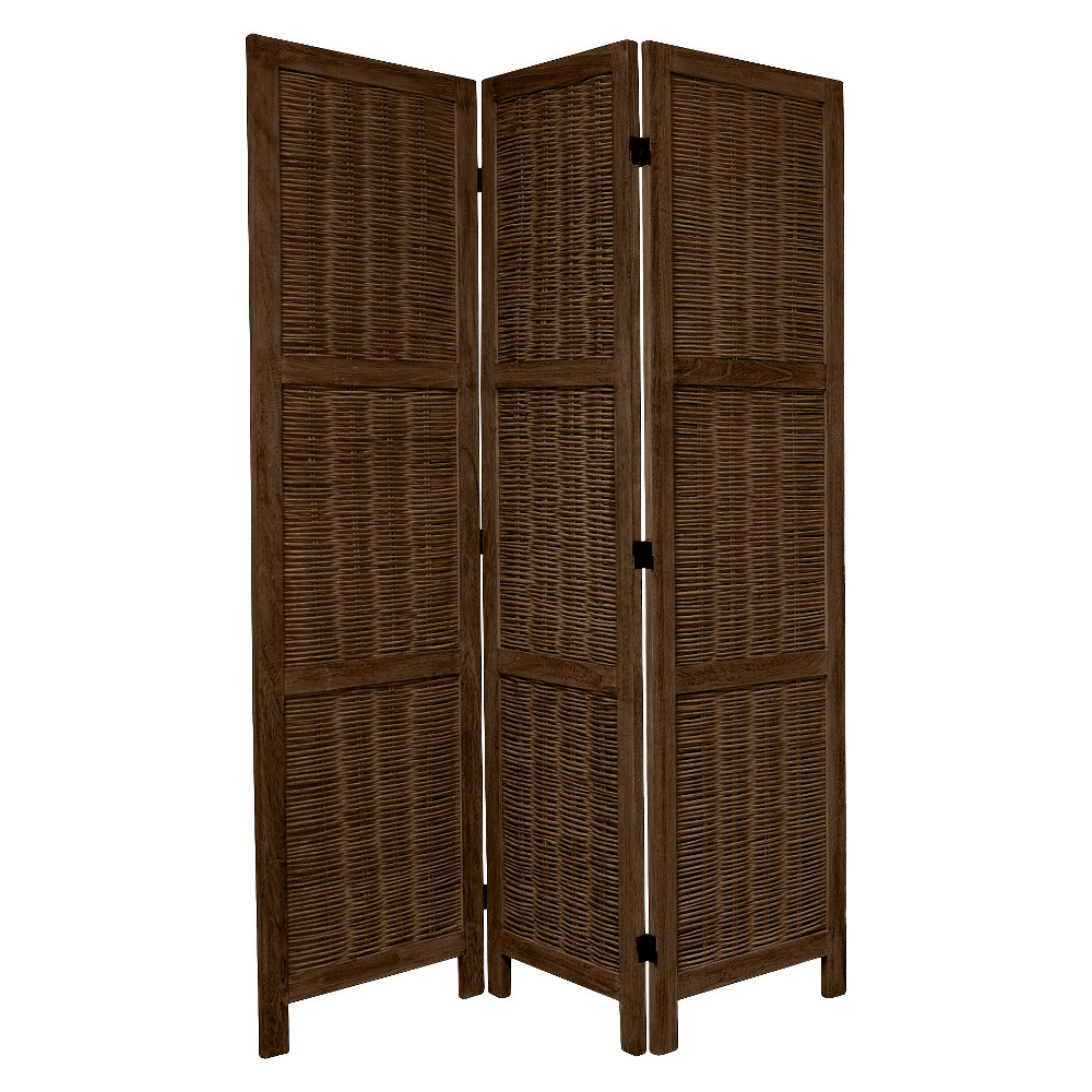 5 1/2 ft. Tall Bamboo Matchstick Woven Room Divider - Burnt Brown (3 Panel)