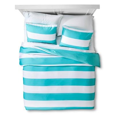 Turquoise Rugby Stripe Duvet Cover Set (Full/Queen)- Room Essentials™