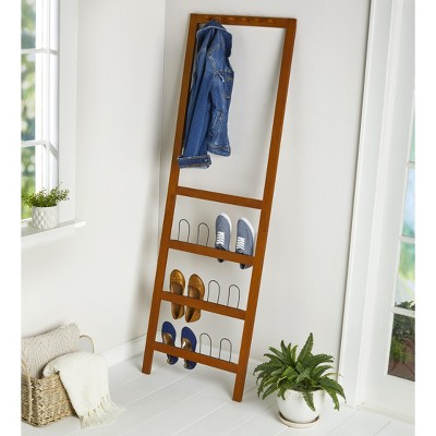 Lakeside Leaning Shoe Rack and Entryway Organizer with Coat Hangers / Hat Hooks