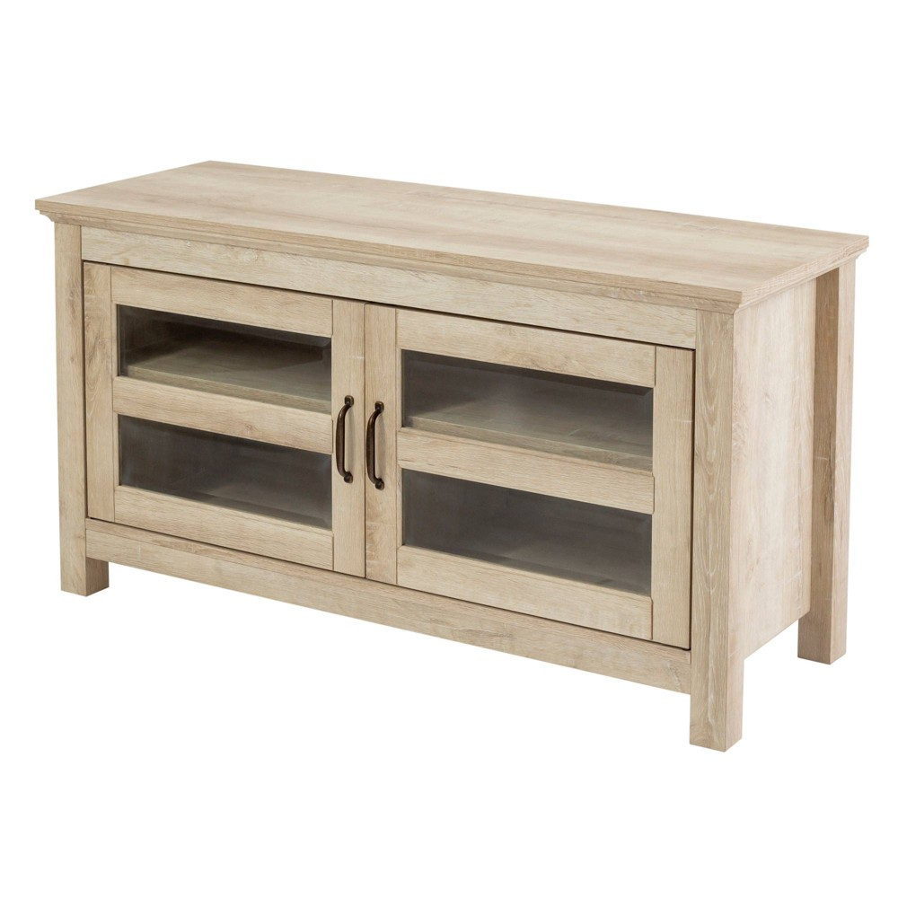 2 Door Wood Storage Console Tv Stand For Tv 39 S Up 50 34 White Oak Saracina Home