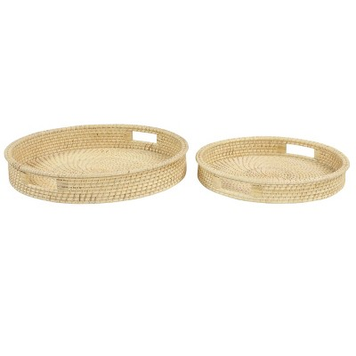 Set of 2 Round Handwoven Natural Bamboo Trays Brown - Olivia & May