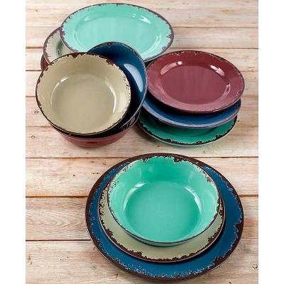 Lakeside Rustic Melamine Dinnerware Set - Plastic Farmhouse Plates and Bowls - 12 Pc.