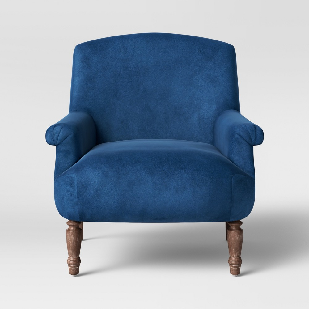 Brewster Rolled Arm Chair with Turned Leg Deep Blue Velvet - Threshold