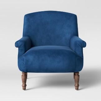 Brewster Rolled Arm Chair with Turned Leg Deep Blue Velvet - Threshold™