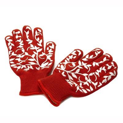 Lakeside Floral Full Finger Oven Gloves for Handling Hot Utensils - Set of 2