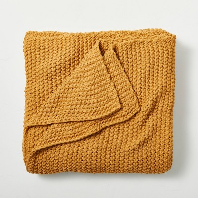 Full/Queen Chunky Knit Bed Blanket Honey - Casaluna™