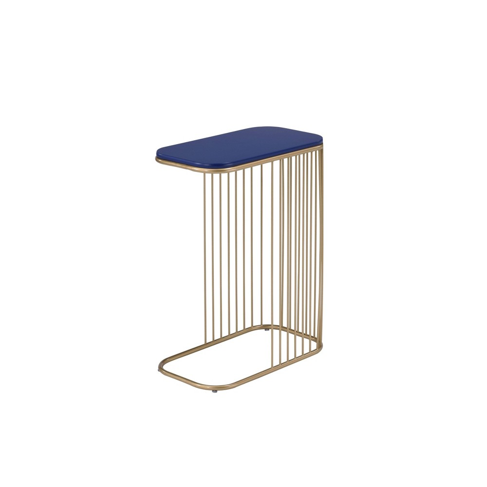 Aviena Accent Table Blue Gold Acme Furniture