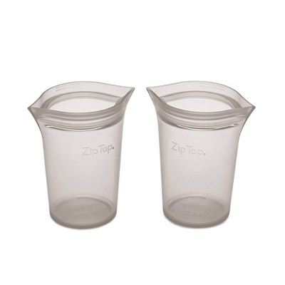 Zip Top Reusable 100% Platinum Silicone Container - Small Cup Set of 2 - Gray