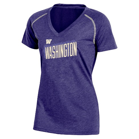 NCAA Women's Workout Warrior V-Neck Mesh Back Performance Soft-Touch T-Shirt Washington Huskies - image 1 of 1
