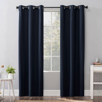 "40""x96"" Cyrus Thermal 100% Blackout Grommet Curtain Panel Navy - Sun Zero"