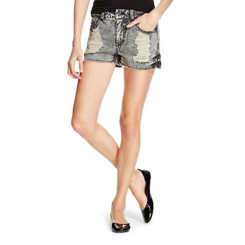 Women's Low-Rise Jean Shorts  - Mossimo™ Destructed Black - image 1 of 2