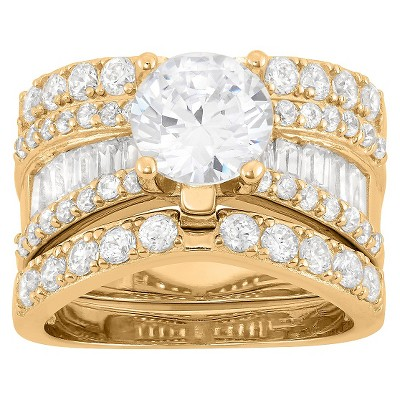 3.91 CT. T.W. 8mm Round-Cut Cubic Zirconia with Baguette Side Stones 3-Piece Ring Set In 14K Gold Over Silver - (5)