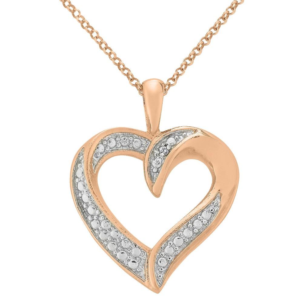 Diamond Accent Heart Pendant in Rose Gold Plated Brass (IJ-I2-I3), Women's
