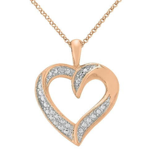 Diamond Accent Heart Pendant in Rose Gold Plated Brass (IJ-I2-I3) - image 1 of 1