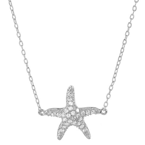 "1/5 CT. T.W. Round-cut CZ Pave Set Starfish Pendant Necklace in Sterling Silver - Silver (16"") - image 1 of 2"