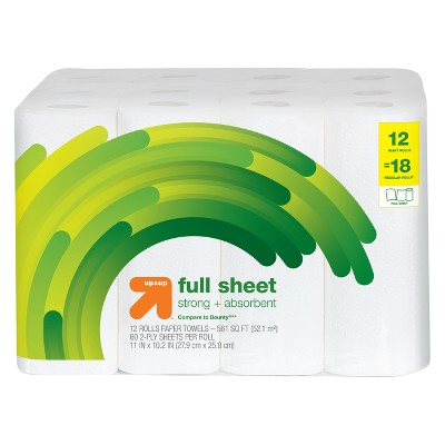 Full Sheet Paper Towels - 12 Giant Rolls - Up&Up™ (Compare to Bounty)