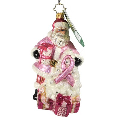 "Christopher Radko 6.0"" Pink Ribbon Santa Ornament 2020 Breast Cancer  -  Tree Ornaments"