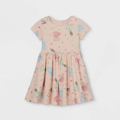 Toddler Girls' Disney Princess Short Sleeve Jersey Knit Dress - Light Pink