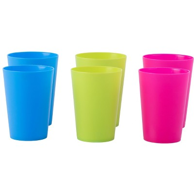 Basicwise Plastic Reusable Cups 7 OZ Set of 6 (2 Red, 2 Green, 2 Blue)
