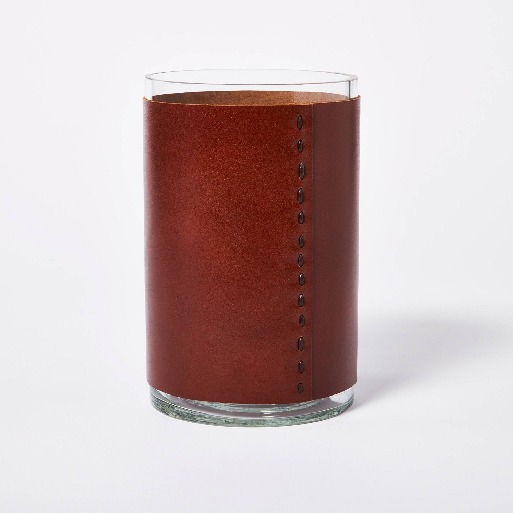 8 34 X 5 34 Glass With Leather Vase Brown Threshold 8482 Designed With Studio Mcgee