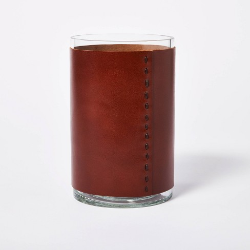 """8"""" x 5"""" Glass with Leather Vase Brown - Threshold™ designed with Studio McGee - image 1 of 4"""