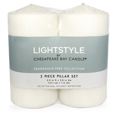 Fragrance Free Pillar Candle White 2pk - 3 x6  - Chesapeake Bay Candle