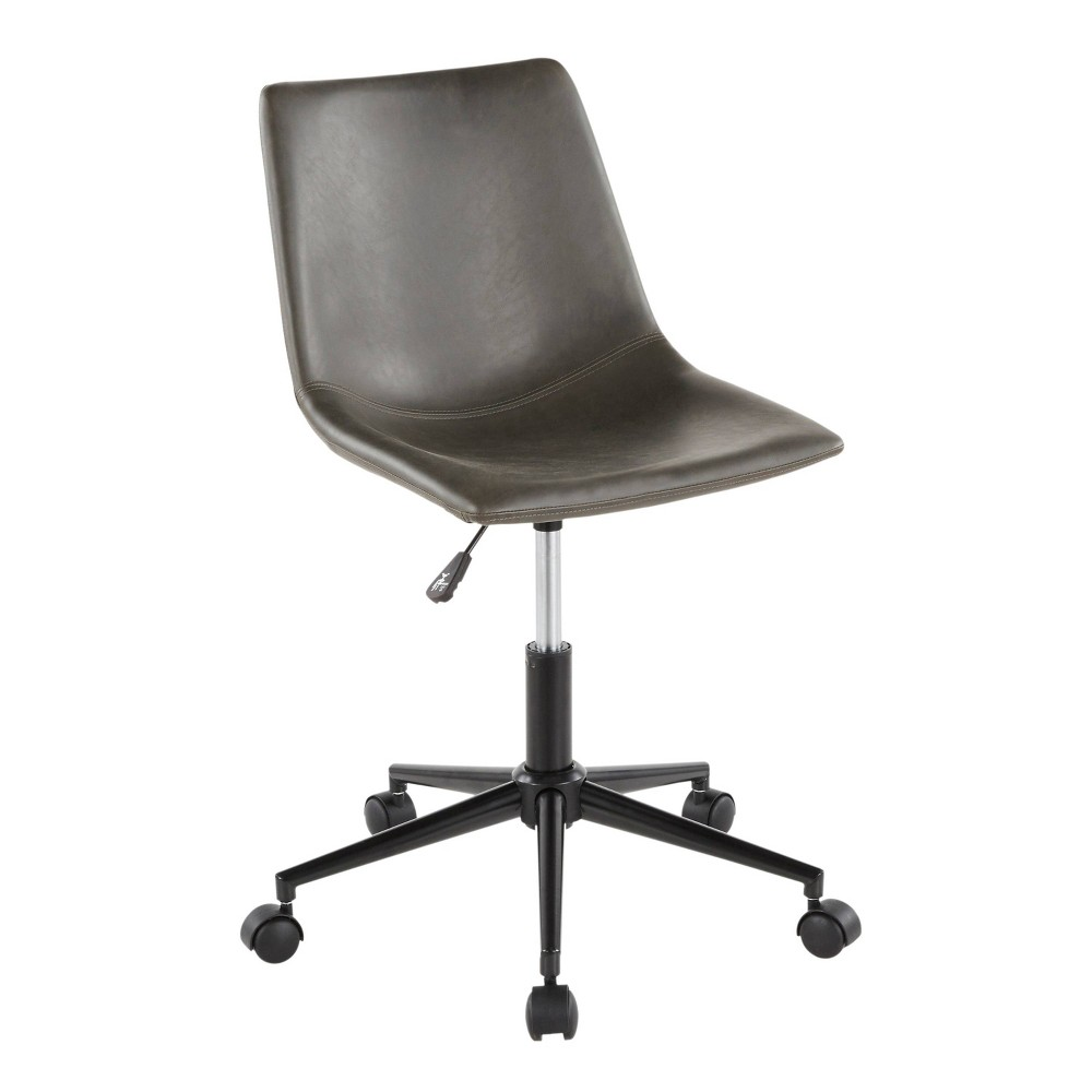 Duke Industrial Task Chair Faux Leather Black/Gray - LumiSource