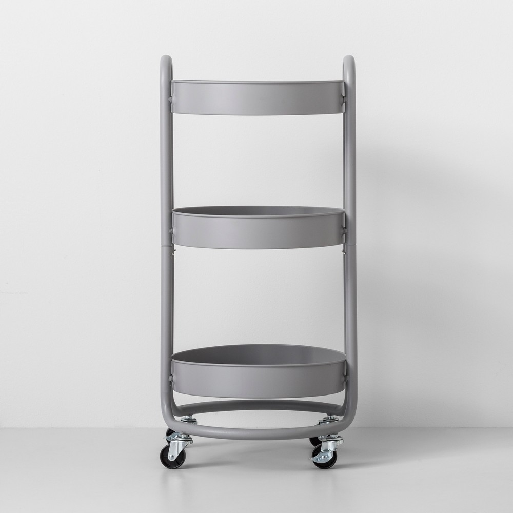Round Metal Utility Cart Gray - Made By Design