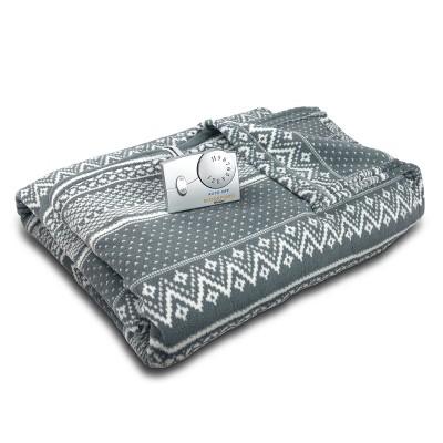 Microplush Electric Heated Blanket (King)Gray & White Fair Isle - Biddeford Blankets