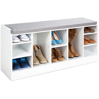 Best Choice Products 46in Shoe Storage Organization Rack Bench for Entryway, Bedroom w/ Padded Seat, 10 Cubbies - White