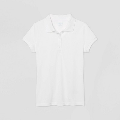 Girls' Short Sleeve Stretch Pique Uniform Polo Shirt - Cat & Jack™ White