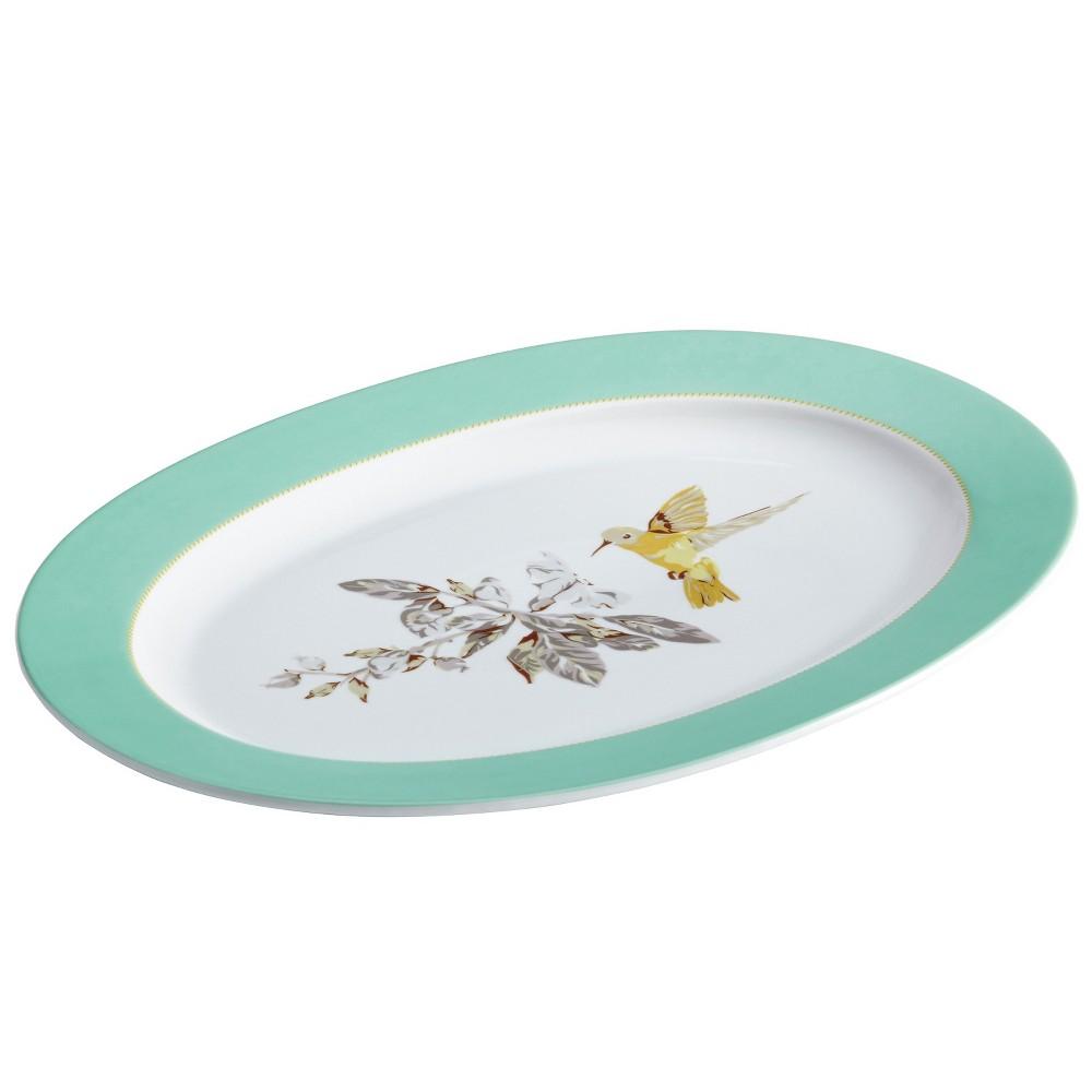 """Image of """"Bonjour Fruitfull Nectar Oval Platter (10"""""""" x 14""""""""), White/Green"""""""