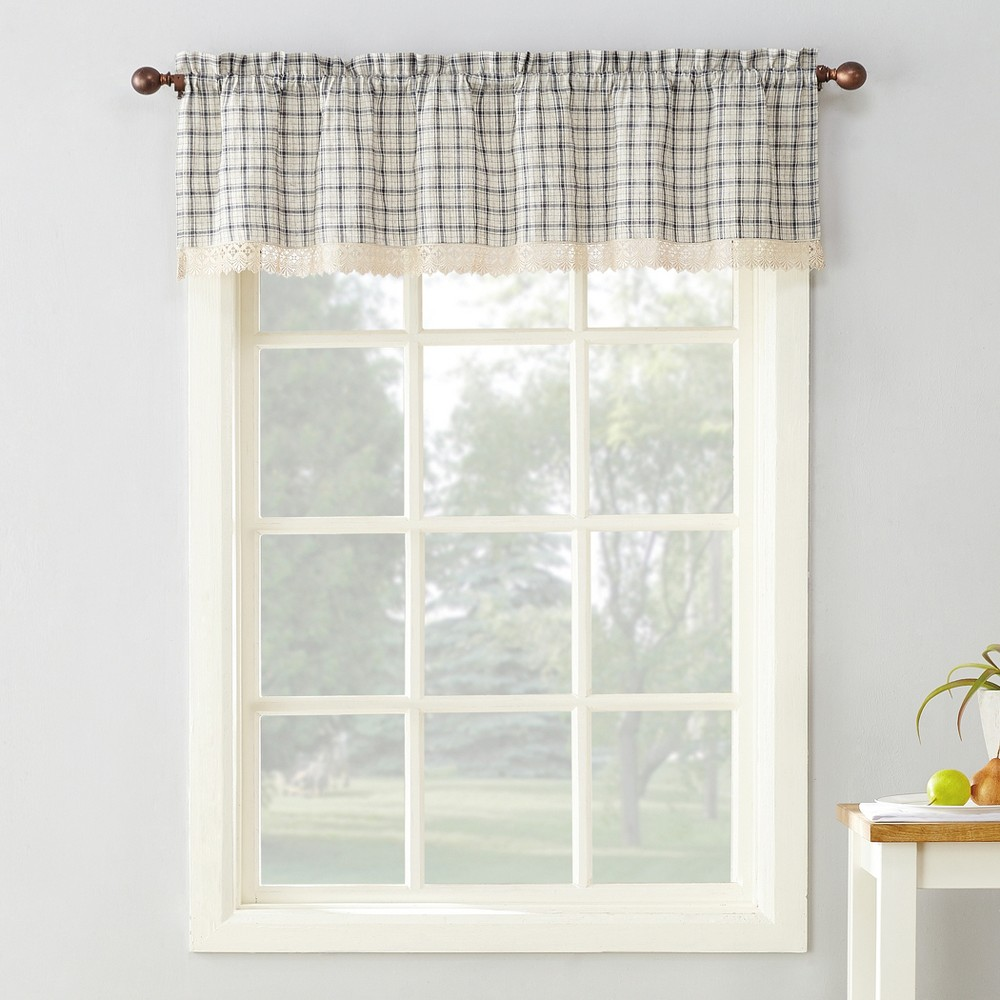 "Image of ""2pc 54""""x38"""" Maisie Plaid Kitchen Blackout Curtain Swag Gray - No. 918"""