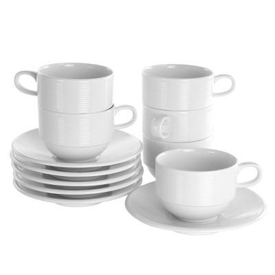 8oz 12pc Porcelain Drew Cup and Saucer Set White - Elama