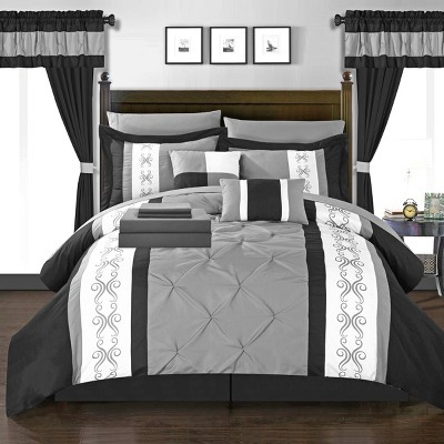King 20pc Kaia Bed In A Bag Comforter Set Black - Chic Home Design